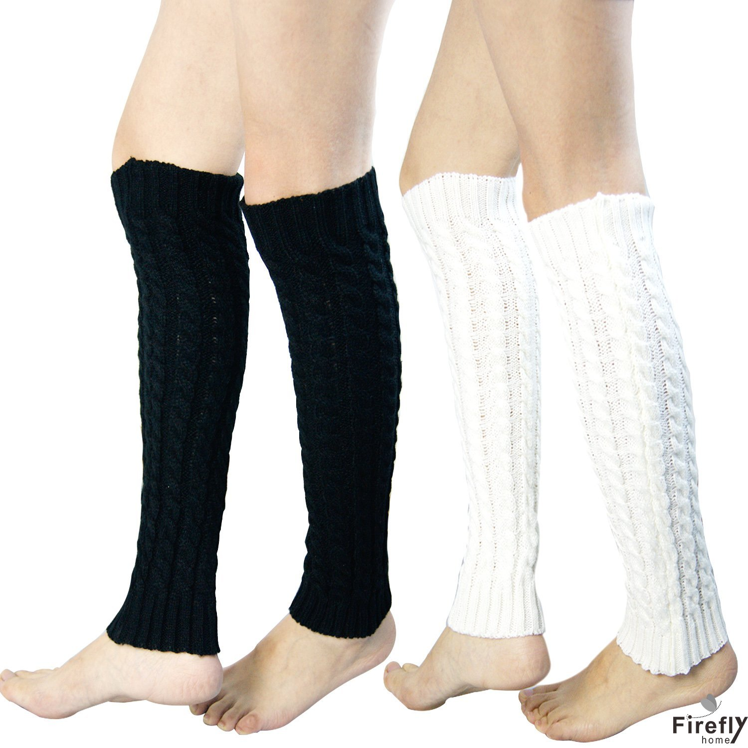 Fireflyhome 2 Pack of Womens Cable Knit Leg Warmers Knitted Croc